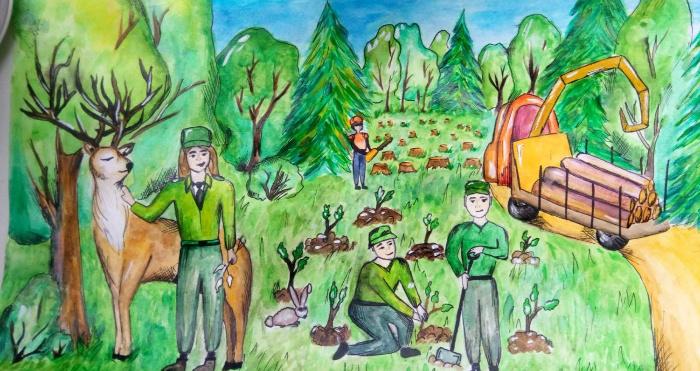 Безпека праці та здоров'я працівників при виконанні робіт у лісовій галузі очима дітей