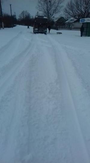Нерозчищена дорога в селі Плоске